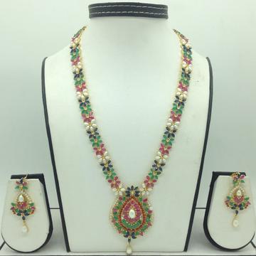 Multicolour CZ and White Pearls Long Haar Set JNC0158