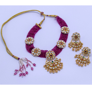 22K Gold Jadtar necklace set agj-NS-03