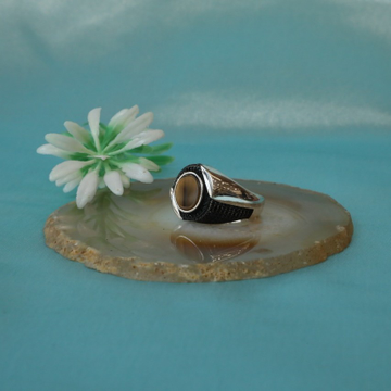 92.5 Silver Ring in Pukhraj Natural yellow Stone & oxidised