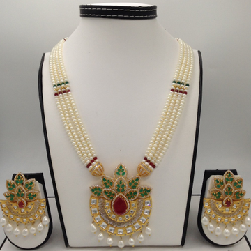 Tri colour cz and pearls fusion rani haar set with 4 lines flat pearls mala jps0459