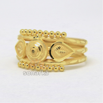 22ct 916 Yellow Gold Ladies Ring Indian Triple Pipe Fancy Kaida