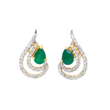 Green stone drop shape diamond earring in 14k yell...