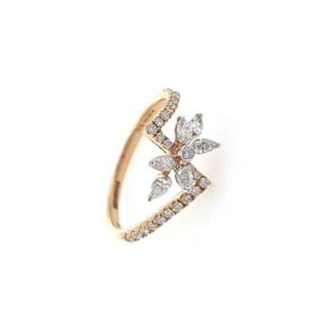 Floral ring with marquise and round diamonds in 18k rose gold - 1.960 grams - vvs ef 0.41 carat - 0lr69