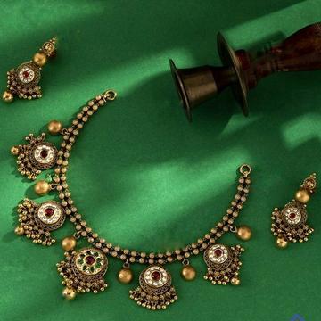 22KT/ 916 Gold Antique bridle half necklace set fo... by