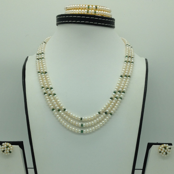 Freshwater White Flat 3 Lines Pearls Combination Full Set JPP1058