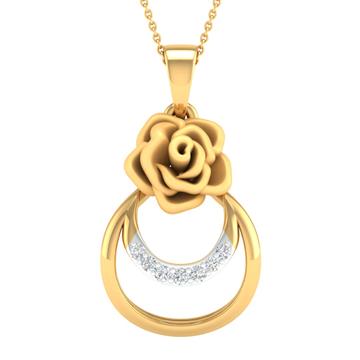 Real diamond fancy flower pendant by