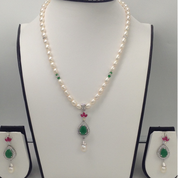 Multicolour CZ And WhitePearls PendentSet With OvalPearls Mala JPS0057