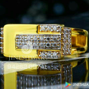 916 Gold Cz Fancy Gents Ring