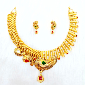 916 gold antique necklace set mga - gn023