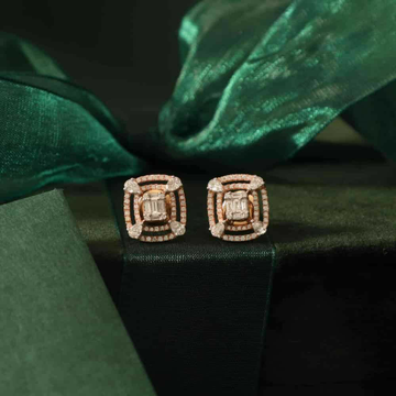 18KT Rose Gold Ethicaly festival square shape earr... by