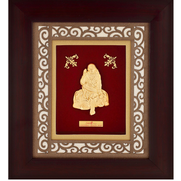 916 Gold Sai Baba Photo Frame AJ-18