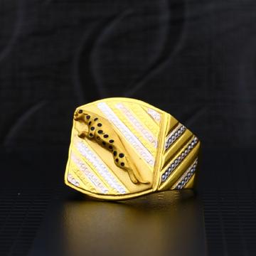 Mens Exclusive Jaguar Desing Fancy Plain Gold Ring-MPR05