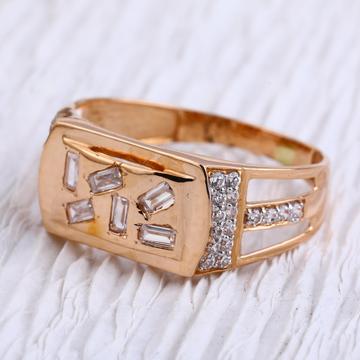 18KT Rose Gold CZ Designer Mens Ring RMR93