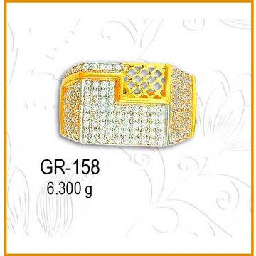 22KT Gold Attractive CZ Diamond Gents Ring GR-158
