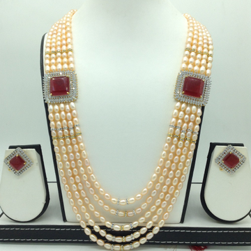 White ,Red CZ BroochSet With 5Lines OrangePearl...