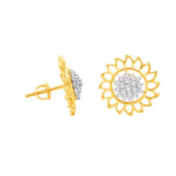 916 Gold CZ Classic Earring For Women JK-E001