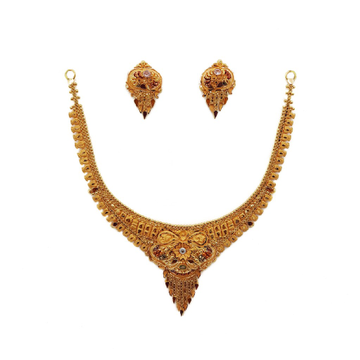 22K Gold Culcutti Necklace with Earrings NSG0074