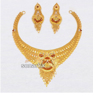 916 Hallmarked Plain Gold Ladies Traditional Bridal Necklace Set