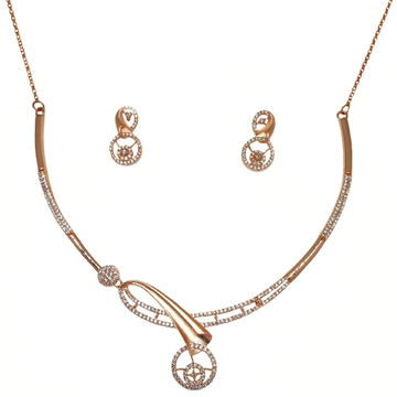 925 Rose Silver Designer Necklace Set MGA - NKS0102