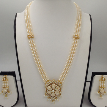 White pearls rani haar set with 3 lines flat pearls mala jps0436