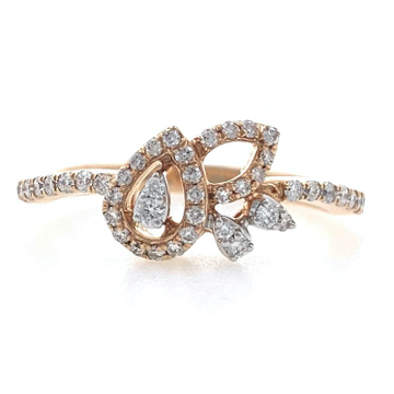 18kt / 750 rose gold tear drop diamond ladies ring...