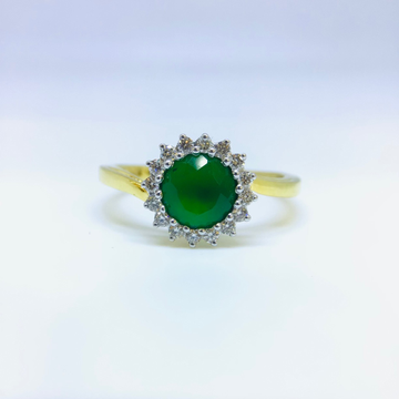 DESIGNING FANCY REAL DIAMOND GREEN STONE RING by