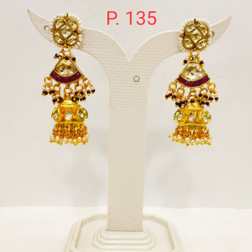Traditional Gold plated Kundan Design Ruby stone Earring Jhumka 1705
