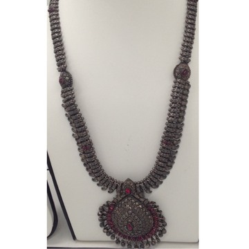 Silver 925 Oxidised Long Necklace Haar with Ruby Stones JNC0019
