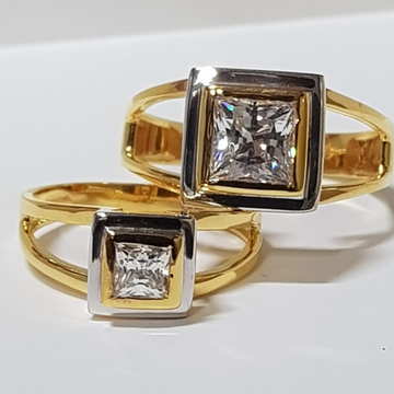 22 ct gold couple ring squre diamond