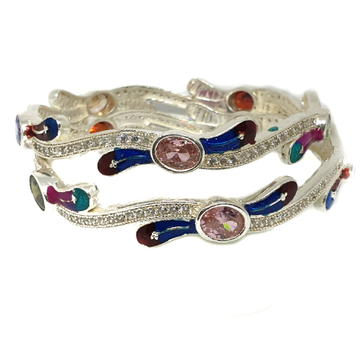 925 Sterling Silver Colour Stone Meenakari Kadali Bangle MGA - KDS0337