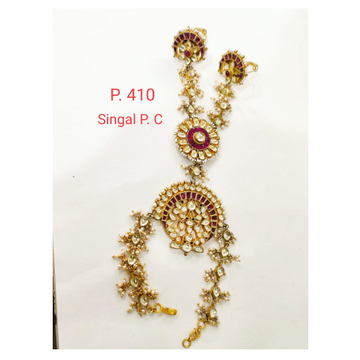 Bridal Gold Red stone Kundan & Moti Hath Panja For Women 1403