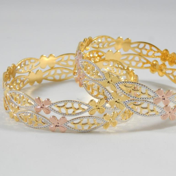 22KT Yellow Gold Prevailing Flowerets Bangles For Women