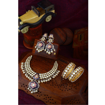 Gold Indian Design Kundan Bridal Necklace Set With Bangle