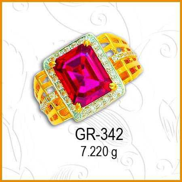916 Gold Fancy Pink Stone Gents Ring GR-342