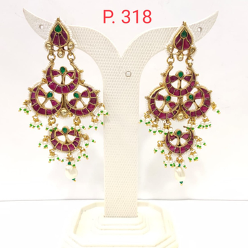 Moon style full ruby stone work earrings  1556