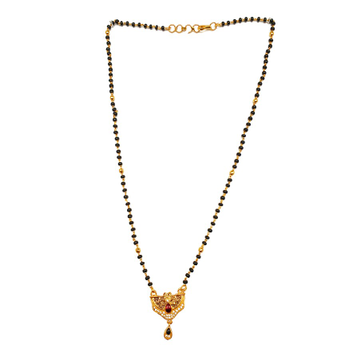 One gram gold forming single line black beads mangalsutra mga - mse0051