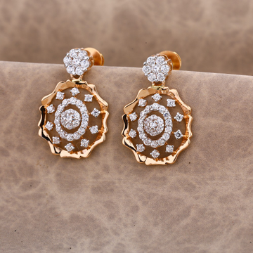 750 CZ Ladies Rose Gold Classic Earring RE186