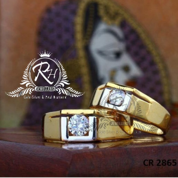 22 carat gold single stone couple rings RH-CR817