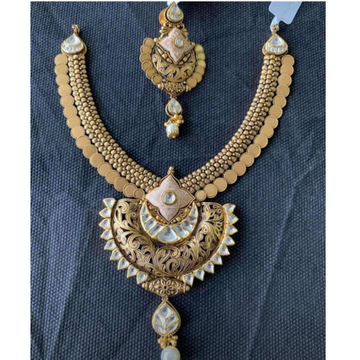 rajwadi  22k 916 gold antique necklace set from rajkot