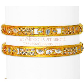 22KT Gold Designer Double Pipe Copper Kadali Bangle 0004