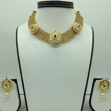 Multicolour Kundan Jali Necklace Set JNC0122
