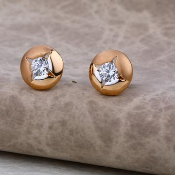 Ladies 18K Rose Gold Round Earring -RE12