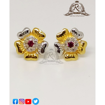 22 carat gold red stone classical butti RH-ER36