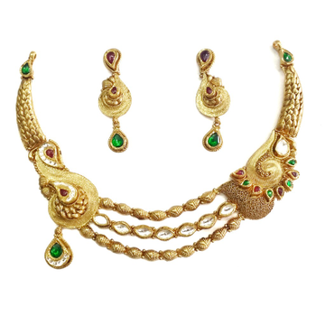 22k gold antique oxidised designer necklace set mga - gn050