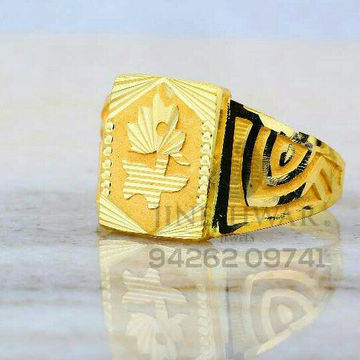 Flower Designe Plain Gold Gents Ring