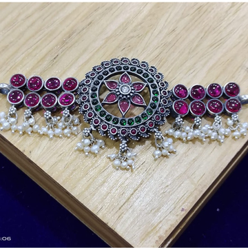 Rangoli floral pendent choker in real silver by pu...