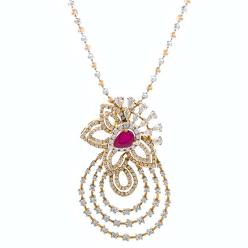Incroyable Diamond Pendant with Red Colour Stone in Rose Gold 8SHP36