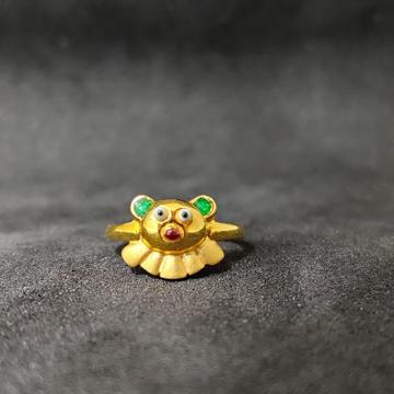 22Kt Kids Wear Teddy Bear Design Gold Ring-24506