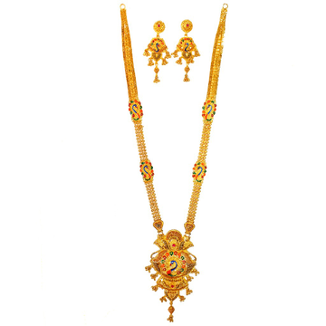 One Gram Gold Forming Peacock Shaped Meenakari Long Necklace Set MGA - HRE0006