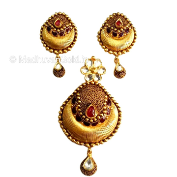 916 Gold Antique oxidised Pendant Set MGA - GPS001